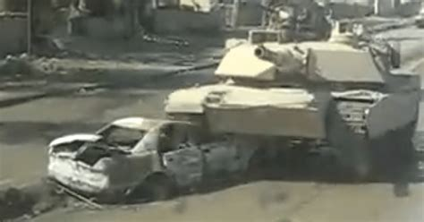Tank Rolls Over Car With Ied Inside & It Explodes, But It