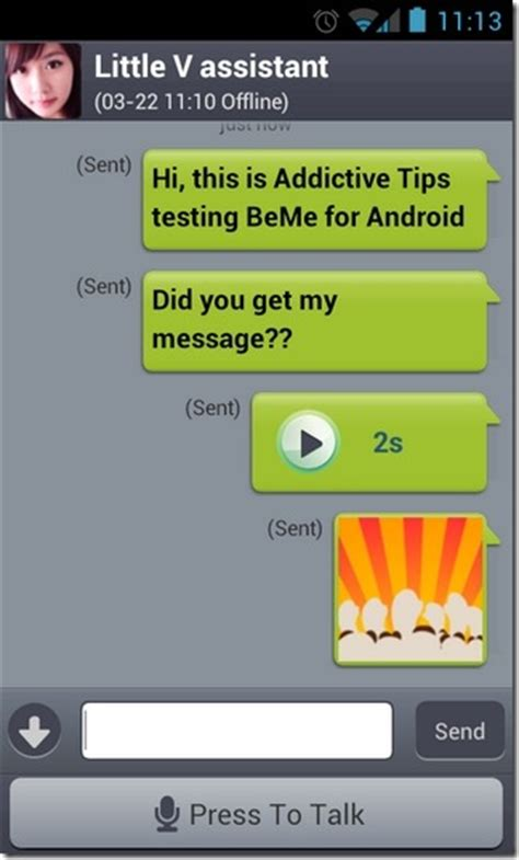 chat for android beme android im with audio emoticon photo file