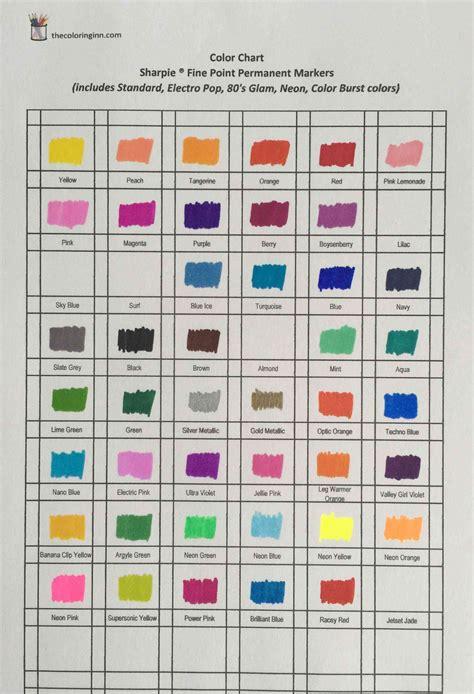 color chart  sharpie fine point permanent markers