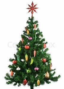 Geschmückter Weihnachtsbaum Fotos : geschm ckter weihnachtsbaum auf wei em hintergrund stock ~ Articles-book.com Haus und Dekorationen