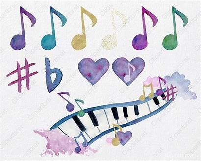 Watercolor Watercolour Fun Splash Notes Piano Clipart