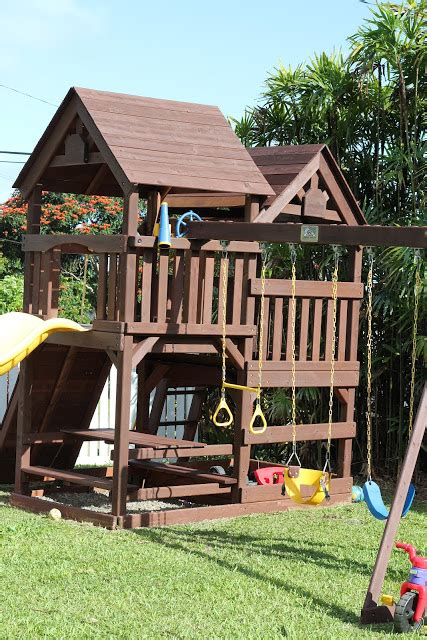 diy wood staining  kids swing set livin  mommy life