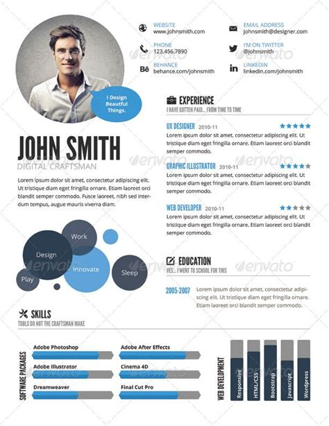 Best Cv Creator by Infographic Resume Template Cv Infographic Creator