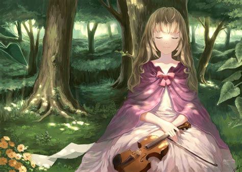 violin anime girl blonde hair forest tree flower wallpaper