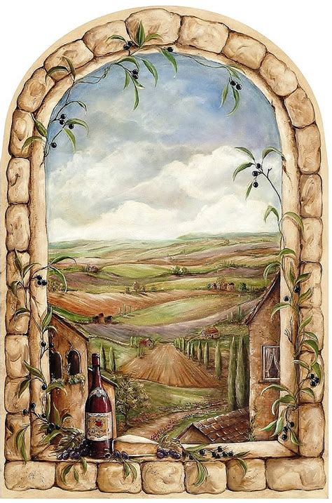 tuscan view window mural kmm