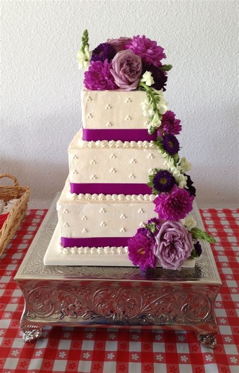Swiss Meringue Buttercream Wedding Cake Purple Flower