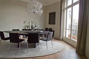 Rideaux Salle à Manger : salle a manger design peinture gris meuble noir rideaux taupe ~ Teatrodelosmanantiales.com Idées de Décoration