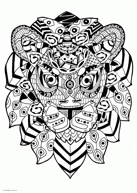 zentangle lion coloring page  adults coloring pages