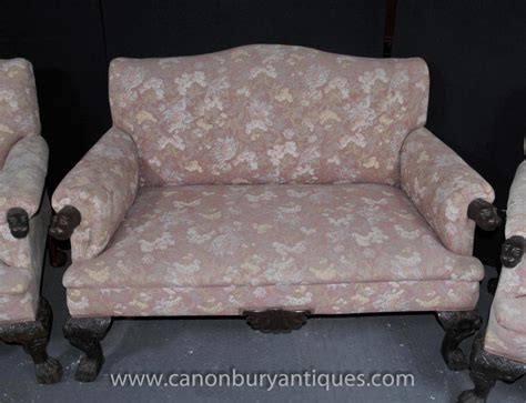 antique chippendale sofa set arm chair couch seats hand