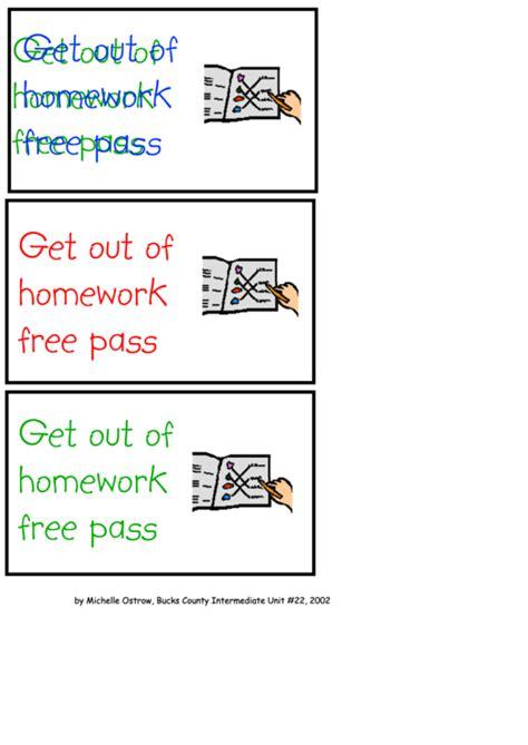 homework  pass template printable