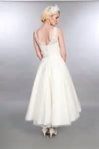 anara lace 1950s tea calf length short wedding dress With calf length wedding dresses