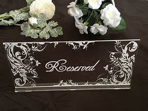 reserved, signs, engraved, table, sign, clear, acrylic, reserved, seating, wedding, party, decor