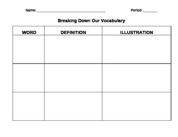 vocabulary fill  worksheet  rebecca miller tpt