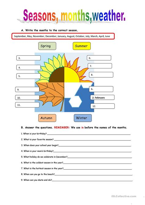 weather and seasons worksheets resultinfos
