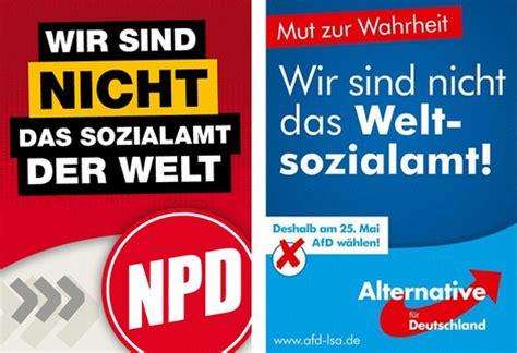 Haus Der Religionen Wir Sind Wahlplakate Der Npd Und Afd Im Direkten Vergleich Alex