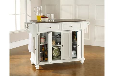 Cambridge Stainless Steel Top Kitchen Island in White by