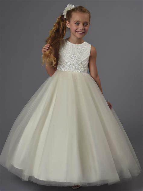 princess beaded tulle floor length wedding flower girl dress