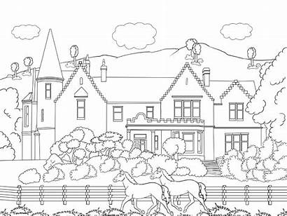 Scenery Coloring Colouring Pages Adults Printable Nature
