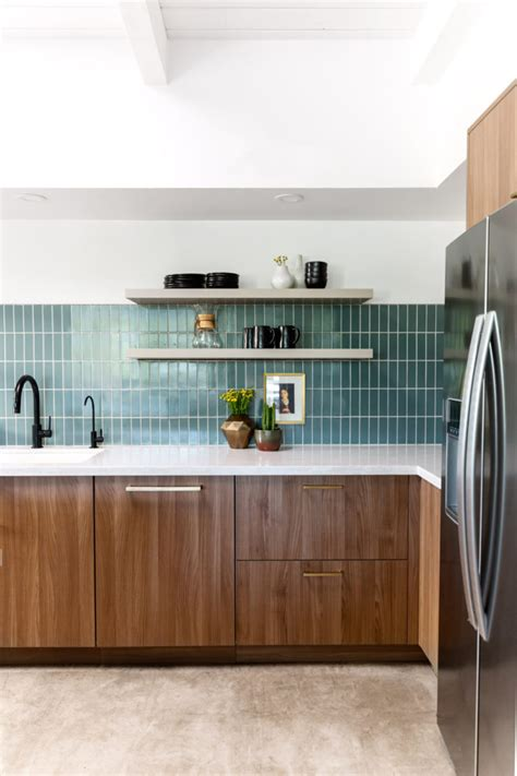 contemporary green blue kitchen tiles fireclay tile