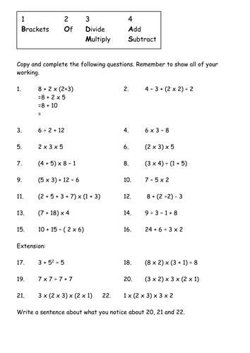 image result for bodmas worksheets grade 4 bodmas worksheets sewing patterns diagram