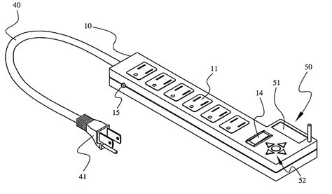 patent us8129859 extension cord with wireless timing