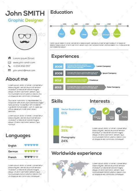 Graphic Resume Templates by Infographic Resume Template For Graphic Infographic