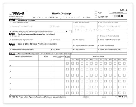 health insurance form 1095 b 1095 b health coverage irs copy for 2018 92636 5095l