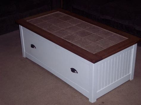 tile top coffee table  soft close drawer