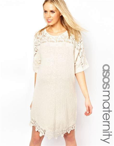 Lace Maternity Dresses For Baby Shower by Asos Maternity Slub Dress With Lace Detail Bb A Bordo