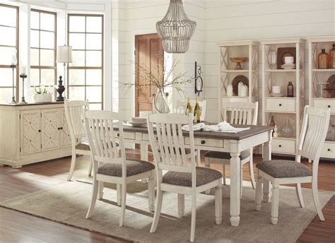 Dining Room Sets : Bolanburg White And Gray Rectangular Dining Room Set From
