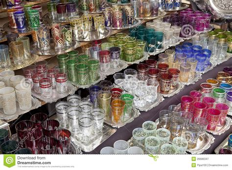 Marokkaans Glaswerk Voor Verkoop Stock Afbeelding