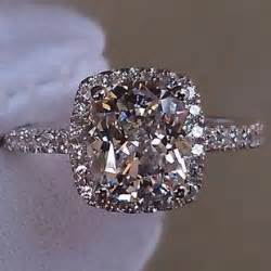 price of engagement rings luxury 2 carat cushion cut simulated engagement rings for silver 925 halo style