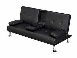 Luciana cinema fold down sofa bed black faux leather for Flip down sofa bed