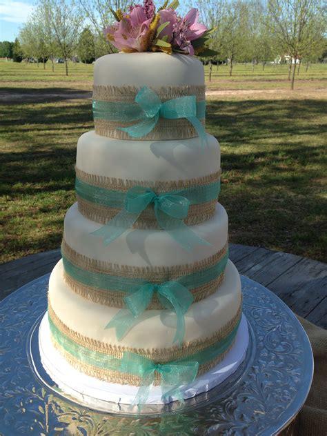 burlap  ribbon wedding cake kuirky cakes wedding