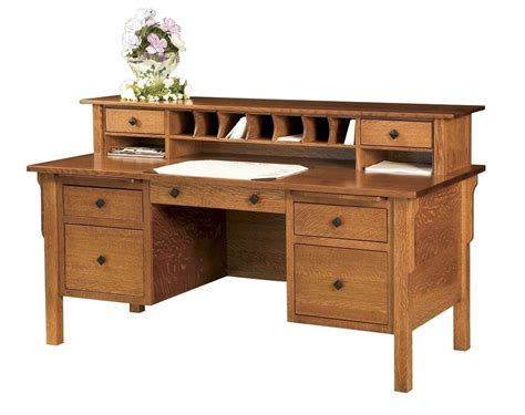 wooden office desk amish computer file desk mission solid wood home office