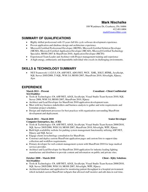 resume qualifications summary resume badak