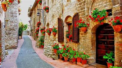 Italy Italian Wallpapers Background Street Assisi Streets