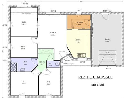 plan maison 3 chambre plain pied plan de maison 90m2 3 chambres