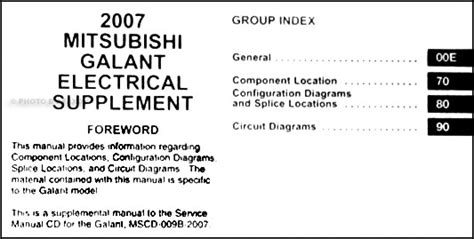 2007 mitsubishi galant wiring diagram manual original