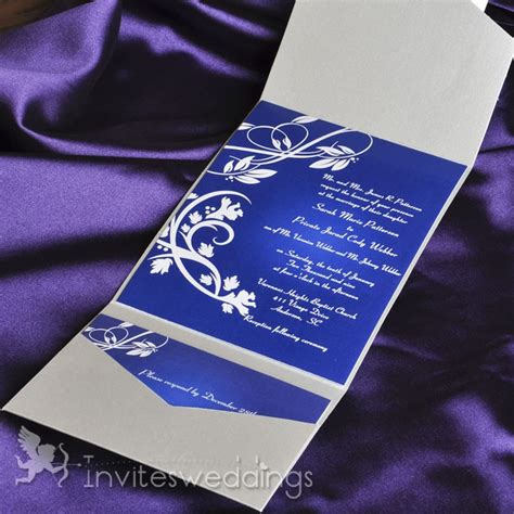 Classice Royal Blue Wines Pocket Wedding Invitations