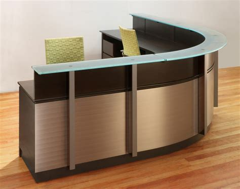 wrap around desk wrap around reception desk modern wood and glass