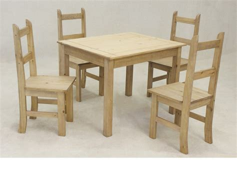 wooden square solid pine dining table and 4 chairs