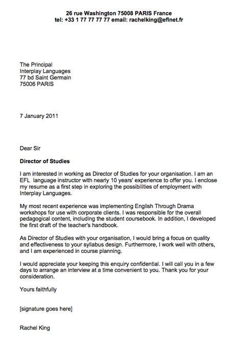 Through such letters, applicants market themselves to the employer, demonstrate their capability for the job, and the value they will bring to the employer. Sample cover letter for English teacher | Business English ...