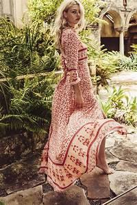Robe Longue Style Boheme : robe ete boheme longue femme beige imprime rouge la robe ~ Dallasstarsshop.com Idées de Décoration
