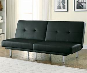 300209 black leatherette split back sofa bed from coaster With split sofa bed