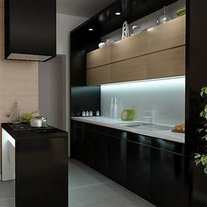 italian beautiful small functional kitchen decobizzcom With kitchen colors with white cabinets with led backlit wall art