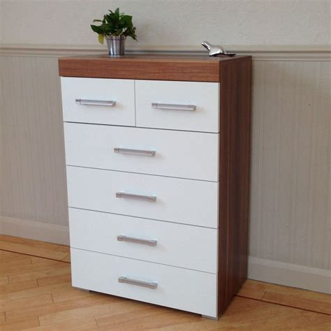 zayley 6 drawer dresser chest of 4 2 drawers in white walnut bedroom furniture