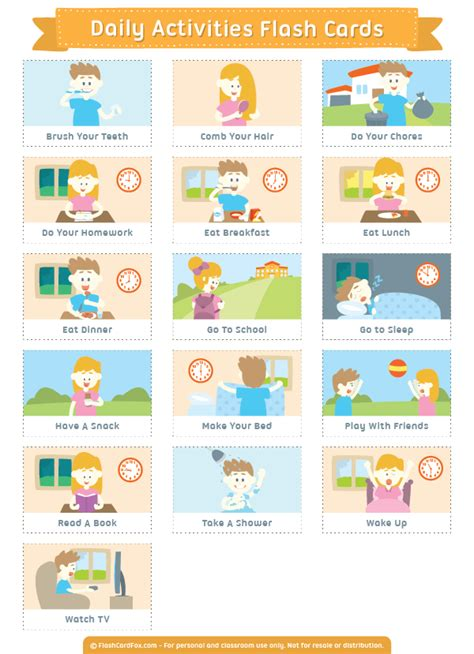 Printable Daily Activities Flash Cards