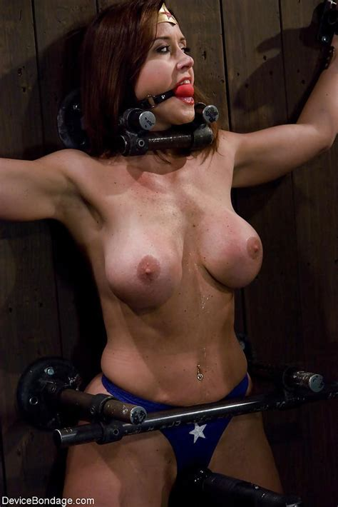 christina carter plays wonder woman during kinky device bondage porn wet milf pussy