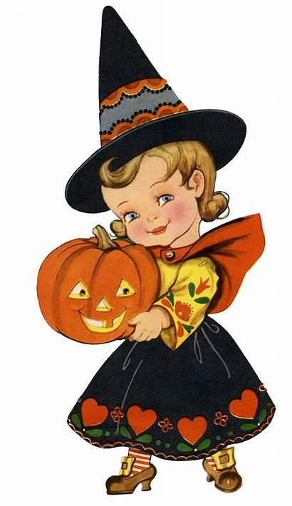 Halloween Retro Witch Clipart Graphics Adorable Fairy